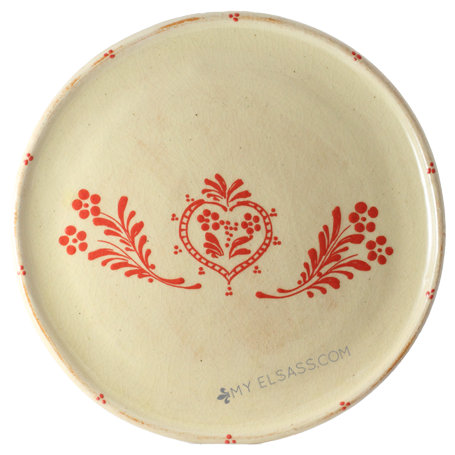 "Serving plate ""Red"" - pottery Soufflenheim, Alsace"
