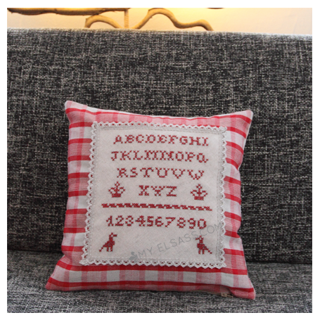 "Handmade cross-stitch pillow cover ""Design B"", Alsace"