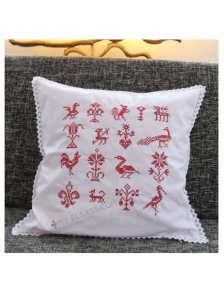 "Handmade cross-stitch pillow cover ""Design C"", Alsace"