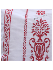 "Handmade cross-stitch pillow cover ""Design E"", Alsace"