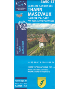 Hiking map France - Alsace - Thann - Masevaux - 3620ET