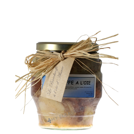 Canned Baeckeoffe from Alsace with goose meat in a glass jar